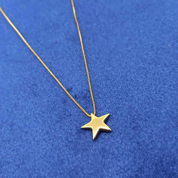 Gargantilha em Ouro 18k Estrela Polida