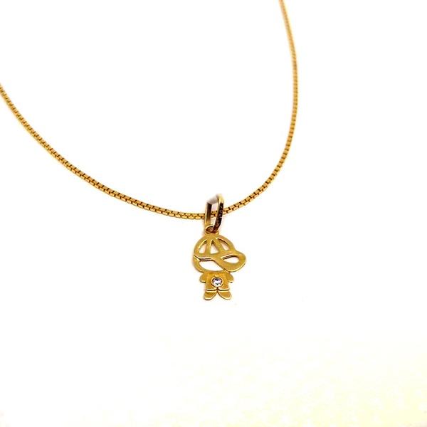 Pingente em Ouro amarelo 18k menino Vazado