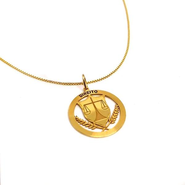 Pingente em Ouro 18k Medalha Direito