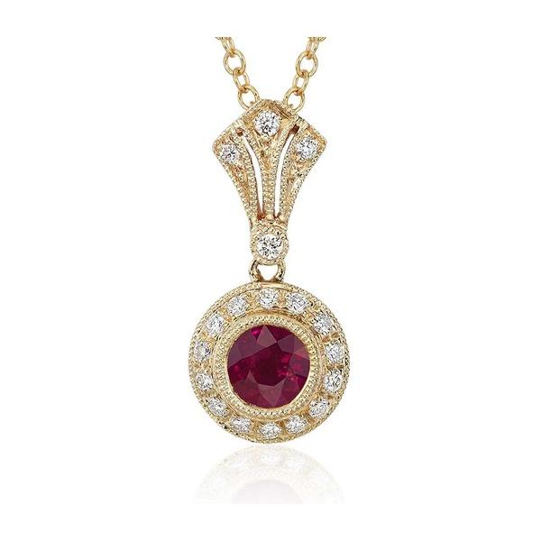 Pingente em Ouro Amarelo 18k com Diamantes e Rubi