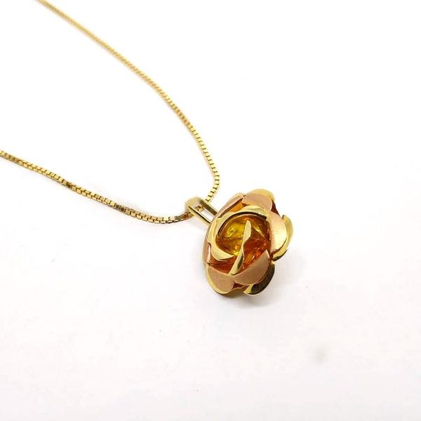 Pingente Flor em Ouro 18k Rosê e Amarelo