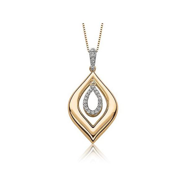 Pingente Navete em Ouro Amarelo Centro Gota Cravejado com Diamantes