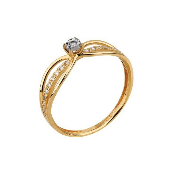 Solitário em Ouro Amarelo 18k Aro Vazado com Diamante Espelhado no Centro