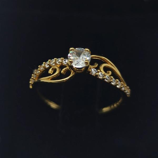 Anel Solitário em Ouro 18k 750 Aro Cravejado e Arabesco