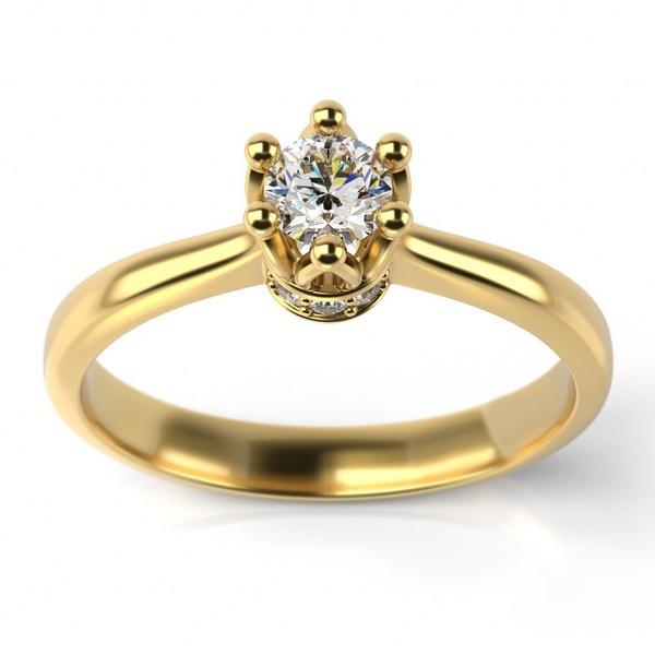 Solitário Ouro 18k Coroa com Diamantes