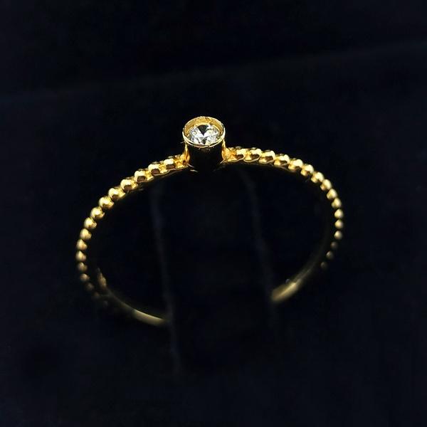Anel em Ouro 18k 750 Trabalhado com Bolinhas e Pedra