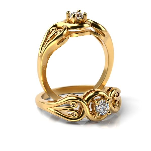 Solitário em Ouro 18k Trabalhado com Diamante de 20 Pontos (UNIDADE)