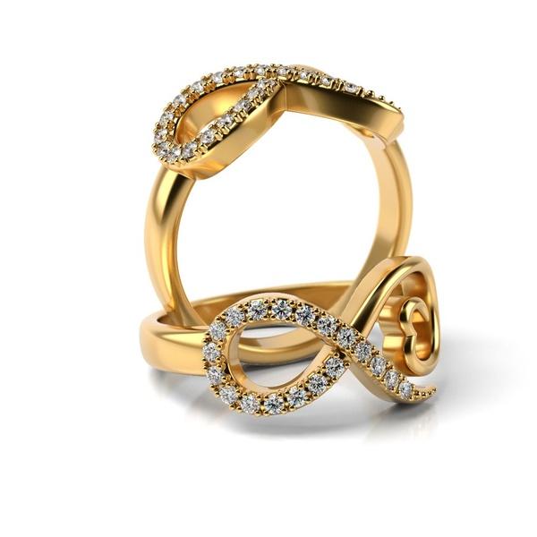 Anel em Ouro 18k Infinito com Diamantes