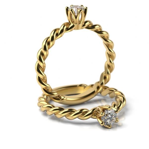Solitário em Ouro 18k Torcido com Diamante de 10 Pontos (UNIDADE)
