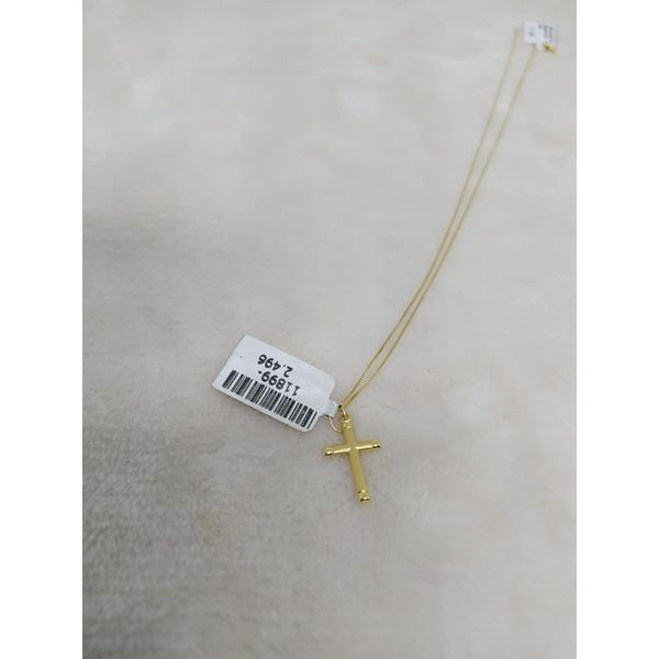 Corrente veneziana com pingente cruz ouro 18k