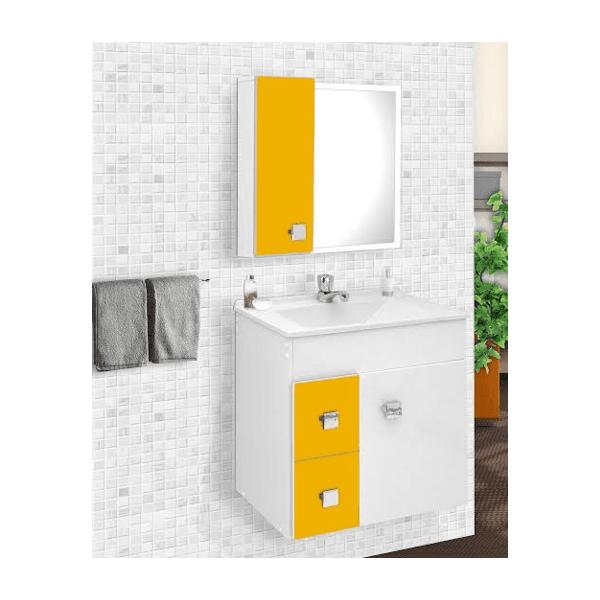 Gabinete p/ banheiro suspenso Ecco amarelo - Fabribam