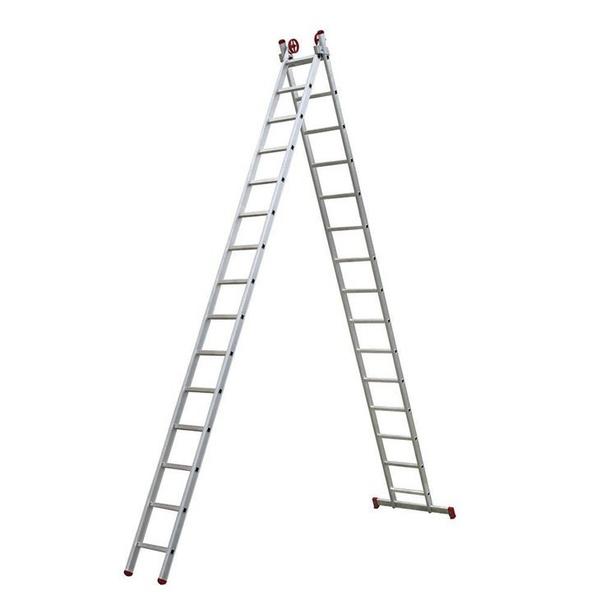 Escada extensiva de alumínio 2x15 degraus - Botafogo