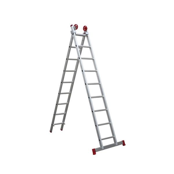 Escada extensiva de alumínio 2x9 degraus - Botafogo