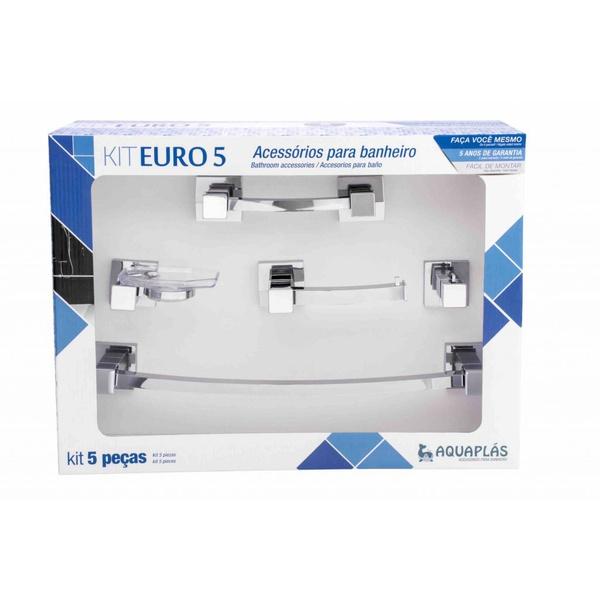 Kit de acessórios p/ Banheiro Euro 5 peças Cromado Crystal - Aquaplás