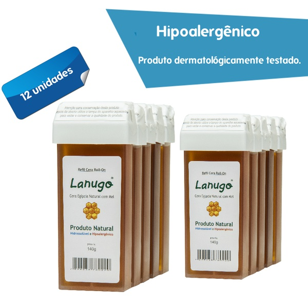 Cera depilatória Egípcia Lanugo Rollon 140g natural com mel Hidrossolúvel e Hipoalergênica 12 UNIDADES