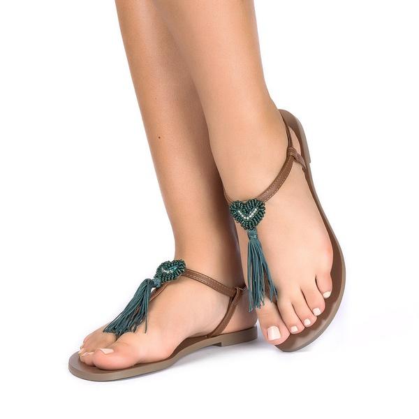 Sandália Coração Verde Musgo