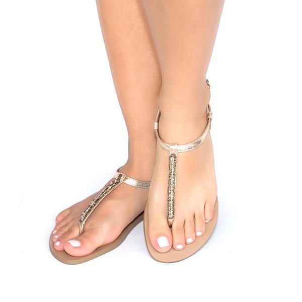 Sandália Brilho Dourado