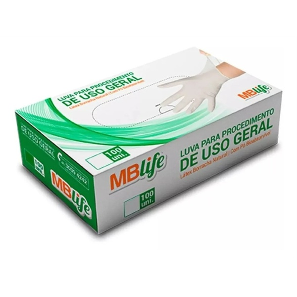 Luva Latex Com Talco Descartável Para Procedimento Não Cirúrgico - Cx C/ 100Un - MBlife