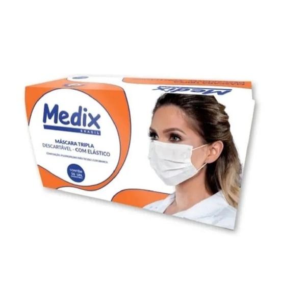 Máscara Descartável Tripla C/Elástico C/50 Unidades Branca Medix