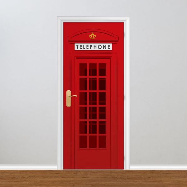 Adesivo para Porta - Madeira Cabine Telefônica Londres
