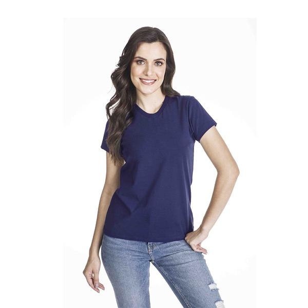 Camiseta Básica Baby Look Azul Marinho
