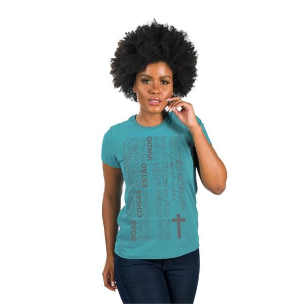 Camiseta Baby Look Boas Coisas Verde Claro