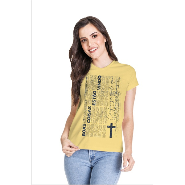 Camiseta Baby Look Boas Coisas Amarelo