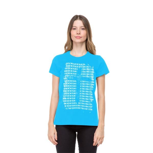 Camiseta Baby Look Filho de Deus Azul Claro