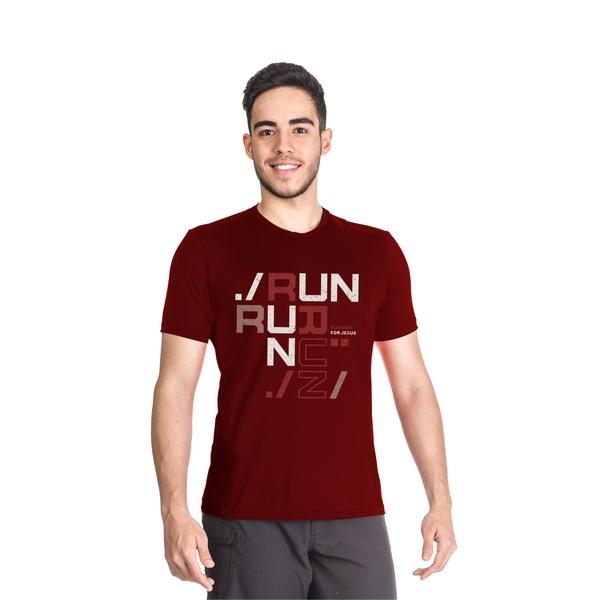 Camiseta Dry Fit Running For Jesus Bordo