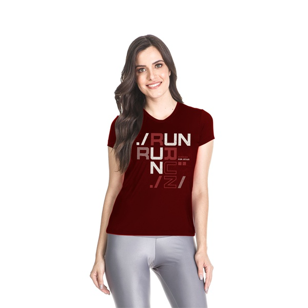 Camiseta Baby Look Dry Fit Running For Jesus Bordo