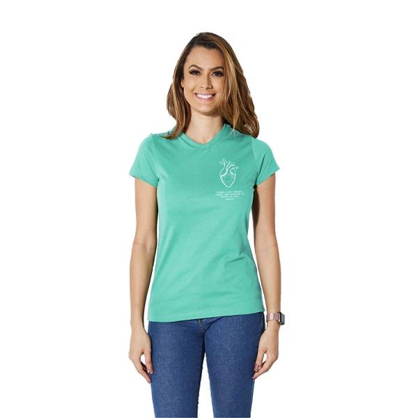 Camiseta Baby Look Guarde Seu Coração Azul Tiffany