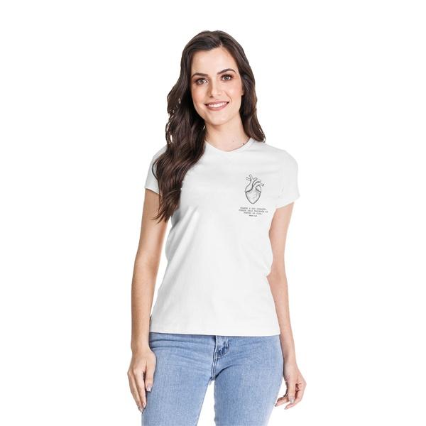 Camiseta Baby Look Guarde Seu Coração Branco
