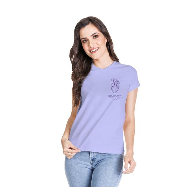 Camiseta Baby Look Guarde Seu Coração Roxo Claro