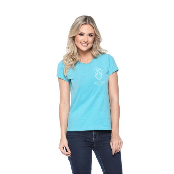 Camiseta Baby Look Guarde Seu Coração Azul Celeste