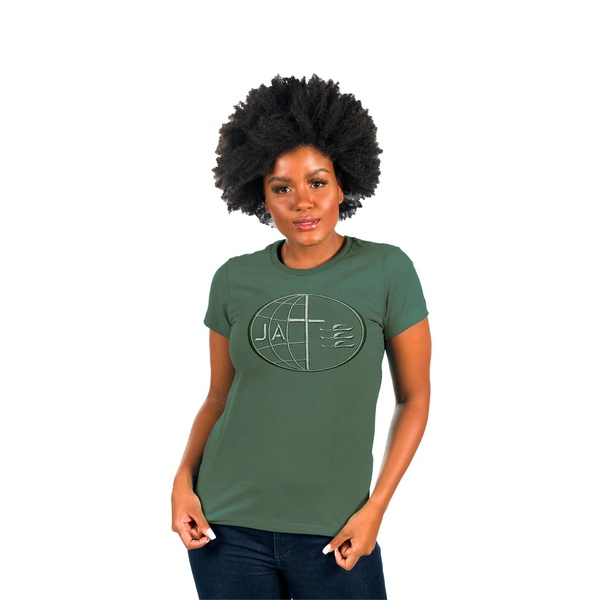 Camiseta Bordada Baby Look JA Verde Militar
