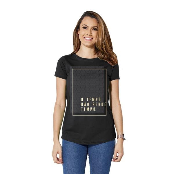 Camiseta Long Baby Look O Tempo Não Perde Tempo
