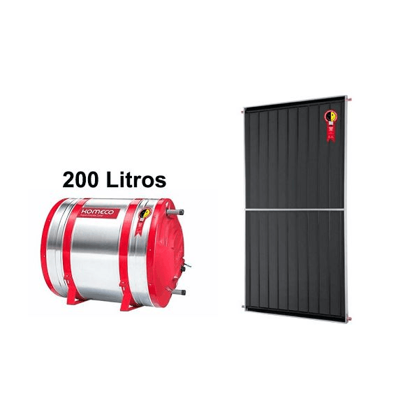 Boiler Solar 200l Baixa Pressão c/ Placa 2,00 x 1,00 komeco