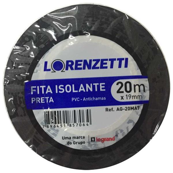 Fita Isolante 19mm x 20m AG-20M Preta Lorenzetti