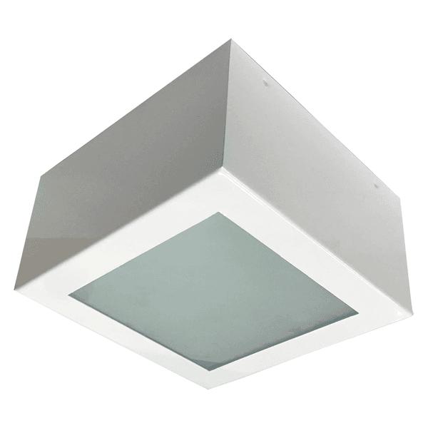 Plafon Quadrado Sobrepor Aço Carbono 15x15cm Para 1 Lâmpada E27 Branco