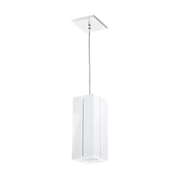 Pendente Quadrado Acrílico com Friso 12x12x30cm Para 1 Lâmpada E27 Branco
