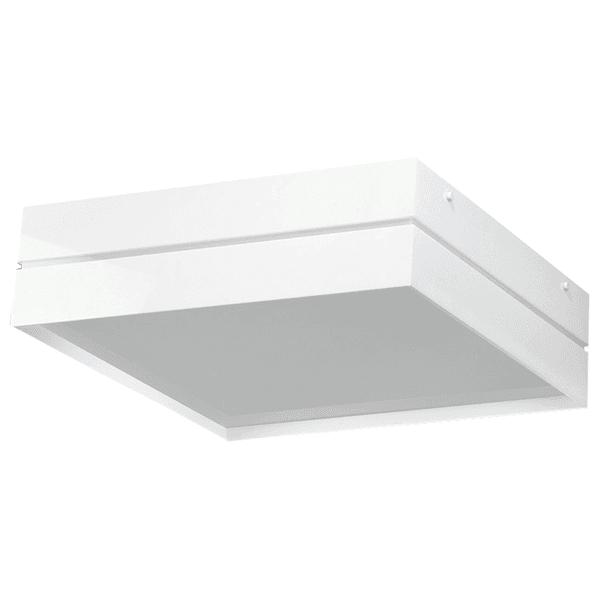 Plafon Quadrado Branco com Friso 50x50cm Para 6 Lâmpadas E27 Acrílico Branco