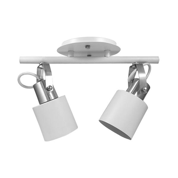 Spot para 2 Lâmpadas E27 Branco/Escovado Trilho