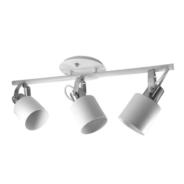 Spot para 3 Lâmpadas E27 Branco/Escovado Trilho