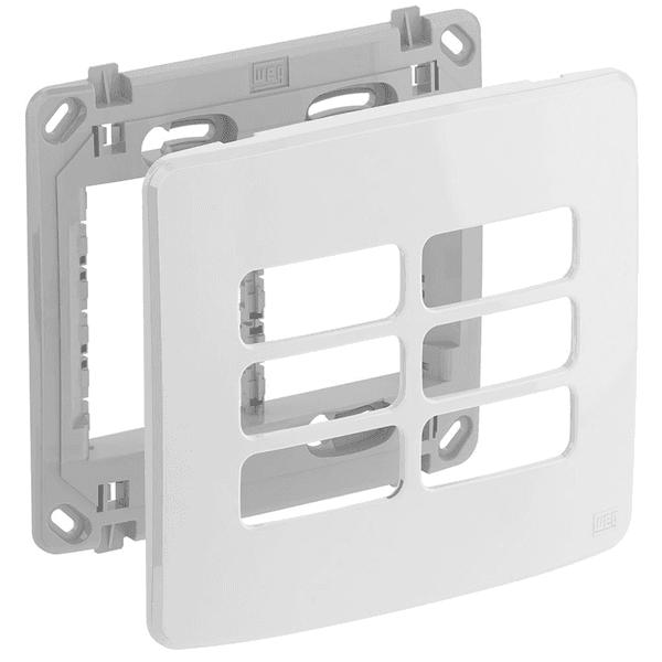 Placa 4x4 Para 6 Módulos Separados Com Suporte Composé Branco - Weg
