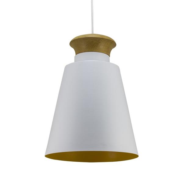 Pendente para 1 Lâmpada E27 Branco(Externo) Amarelo(Interno)