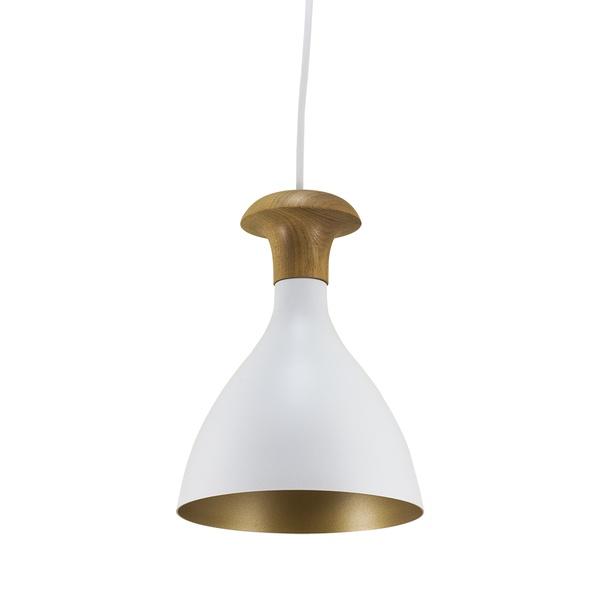 Pendente para 1 Lâmpada E27 Branco(Externo) Dourado(Interno)