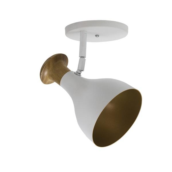 Spot para 1 Lâmpada E27 Branco (Externo) Dourado (Interno) Base