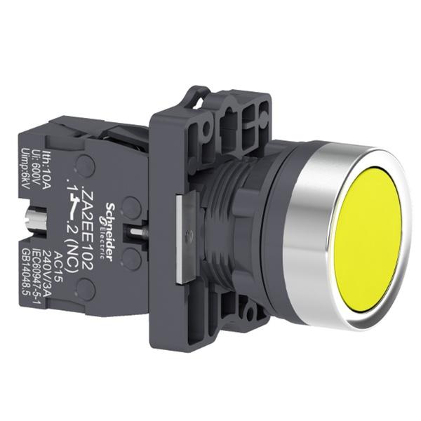 Botão 22mm Plástico a Impulsão 1NA Amarelo XA2EA51 Schneider