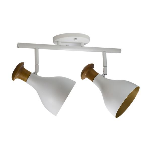 Spot para 2 Lâmpada E27 Branco (Externo) Dourado (Interno) Trilho