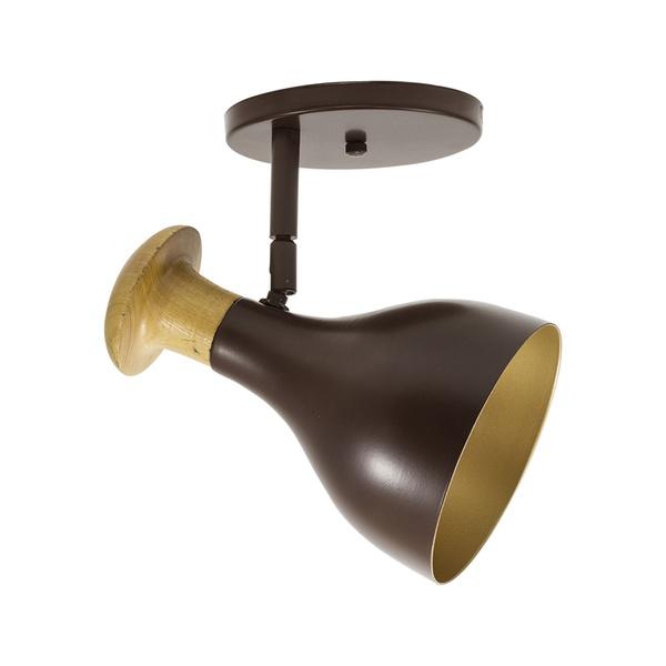 Spot para 1 Lâmpada E27 Marrom (Externo) Dourado (Interno) Base